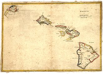Lorrin Andrews - Na Mokupuni o Hawaii Nei, a map of the Hawaiian Islands published by his students in 1837