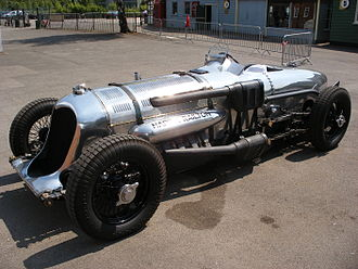 Aero-engined car - The Napier-Railton, built in 1933 and powered by a Napier Lion aircraft engine, at Brooklands Museum in 2008