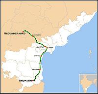 Narayanadri Express Route map.jpg