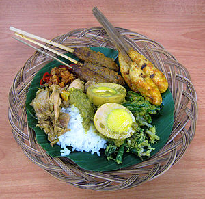 Nasi campur -  Nasi campur Balinese version with two types of sate lilit, egg and vegetables