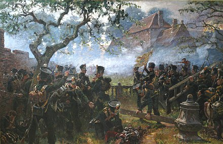Nassau troops at the Hougoumont farm Nassau - Hougoumont - Papendrecht.jpg