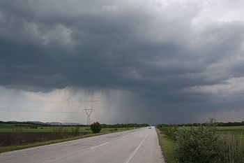 National Road 51 (European Road 85) in Evros prefecture, Greece with a spring thunderstorm.jpg