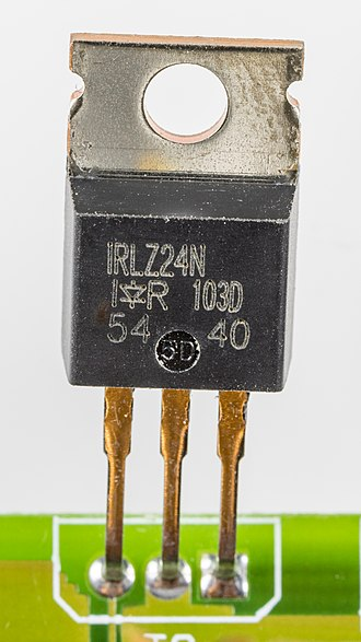 Power MOSFET - IRLZ24N Power MOSFET in a TO-220AB through-hole package. Pins from left to right are: 1 is gate (logic-level), 2 is drain, 3 is source, 4 (top metal tab) is drain (same as pin 2).