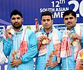 Neeraj Kumar, Gurpreet Singh and Mahender Singh of India won Gold Medal in the 25m Standard Pistol Men's Team event of Shooting, at the 12th South Asian Games-2016, in Guwahati on February 12, 2016.jpg