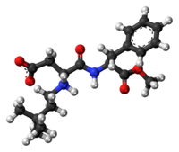 Ball-and-stick model of the neotame molecule