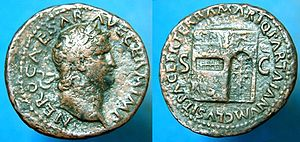 Tiridates I of Armenia - Roman coin struck in 66 AD under Nero's reign depicting the gates of the Temple of Janus closed.