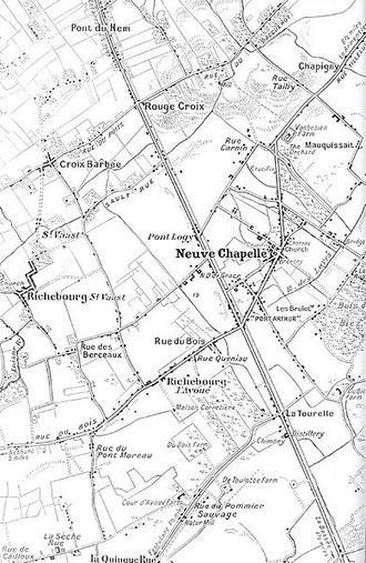 Battle of Neuve Chapelle - Neuve Chapelle area, 1914–1915