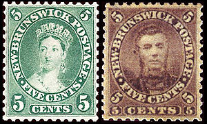Postage stamps and postal history of New Brunswick - The Chalon head which replaced the initial five cent issue featuring the postmaster's portrait
