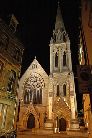 Wesley Memorial Church, Oxford - Image: New Inn Hall St Wesley Memorial Church Night