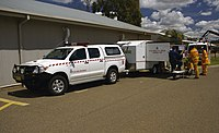 New South Wales Rural Fire Service - Toyota Hilux with Kid's Firewise trailer.jpg