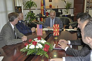Talat Xhaferi - Xhaferri during a meeting with US Army generals while serving as Minister of Defence