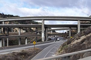 Newhall Pass interchange - View from truck bypass