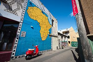Newtown area graffiti and street art -  Africa Mural off King St, Newtown, c2000.