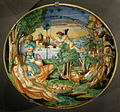 Ngv, maiolica di urbino, piatto con venere e marte, 1545 circa.jpg