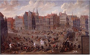 English Fury at Mechelen - The English fury on the Grote Markt in Mechelen by Nicolaas van Eyck