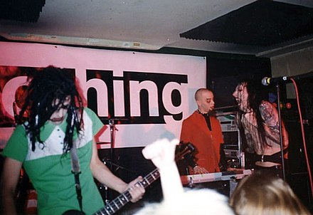 "Marilyn Manson in 1994, performing during the label's ""A Night of Nothing"" showcase of Nothing Records acts. Nights of Nothing MM.jpg"