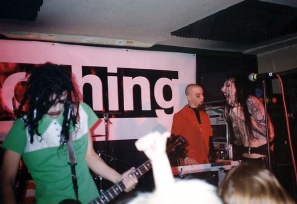 "Left to Right: Twiggy, Gacy and Manson performing at the ""A Night of Nothing"" industry showcase, 1995 Nights of Nothing MM.jpg"