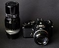 Nikkormat EL w 50mm f 1.4 and 200mm f 4 lenses (5991762431).jpg