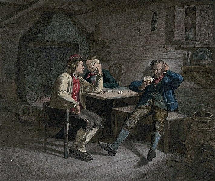 File:Norske Folkelivsbilleder 06 - Kortspillerne (Adolph Tidemand).jpg