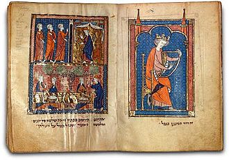 North French Hebrew Miscellany - Left, scenes with Abraham from Genesis, ch 18; right, David