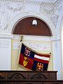 Nový zemský dům - jihomoravská vlajka v zasedací síni.jpg