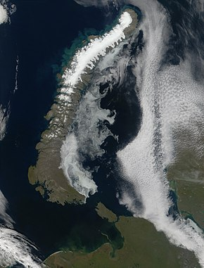 Satellittbilde over Novaja Semlja (NASA).