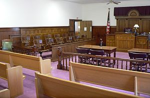 Courtroom in in . The Classical Revival court...