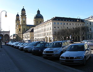 Odeonsplatz - West side of the Odeonsplatz, looking south to the Theatine Church and Feldherrnhalle