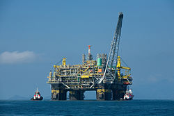 An oil platform in the Atlantic Ocean.