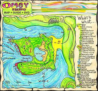 Pictorial map - Colourful quirky map of Omey Island created by Irish Artist Sean Corcoran 2009