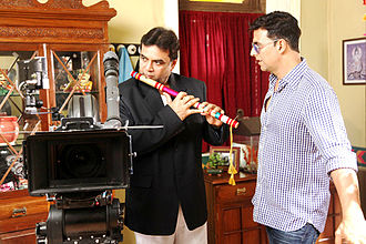 Paresh Rawal - On the set of OMG with actor Akshay Kumar