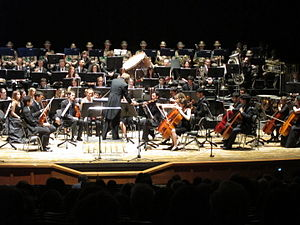 Youth orchestra - A youth orchestra performing onstage.