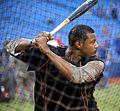 Orioles outfielder Adam Jones takes batting practice before the AL Wild Card Game. (30086436151).jpg