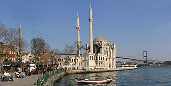 View of the Ottoman Neo-Baroque style Ortaköy Mosque on the Bosphorus, as seen from the Ortaköy pier square