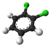 Ball-and-stick model of 1,2-dichlorobenzene