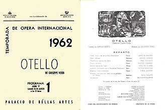 Plácido Domingo - Domingo made his debut in Verdi's Otello at Bellas Artes in the comprimario rôle of Cassio in 1962
