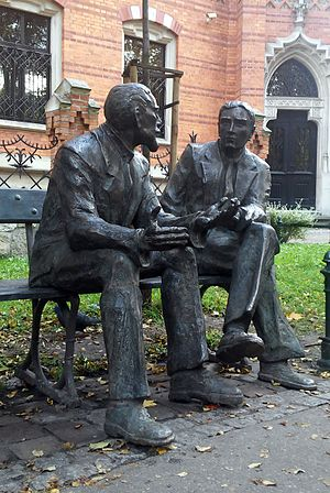 Stefan Banach - Otto Nikodym and Stefan Banach Memorial Bench in Kraków, Poland (sculpted by Stefan Dousa)