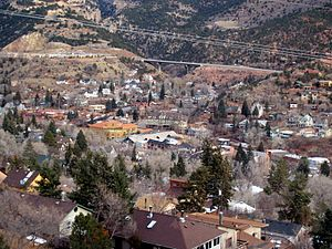 Manitou Springs, Colorado - A view overlooking the city from the foothills