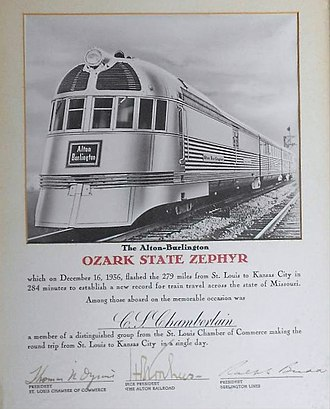 Chicago, Burlington and Quincy Railroad - The Alton-Burlington Ozark State Zephyr in 1936.