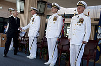 Officers Wearing Full Dress Whites Worn At A Change Of Command Ceremony In October 2009