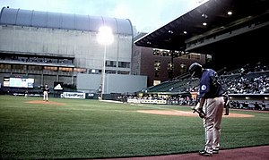 Portland Beavers - Vince Sinisi on deck in 2008.