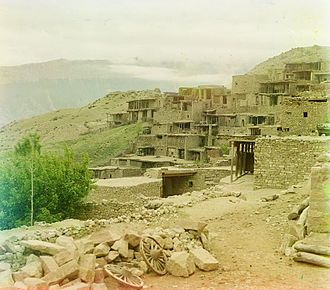 Aul - Gunib, an aul in Dagestan, as photographed by Prokudin-Gorsky at some point between 1905 and 1915.