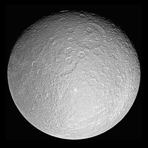 Rhea (moon) - Cassini mosaic of Rhea