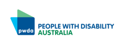 A blue square with PWDA in white text in the middle of the square. People with Disability Australia in large text next to it in blue and green.