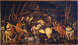 Paolo Uccello: Niccolò Mauruzi da Tolentino unseats Bernardino della Ciarda at the Battle of San Romano