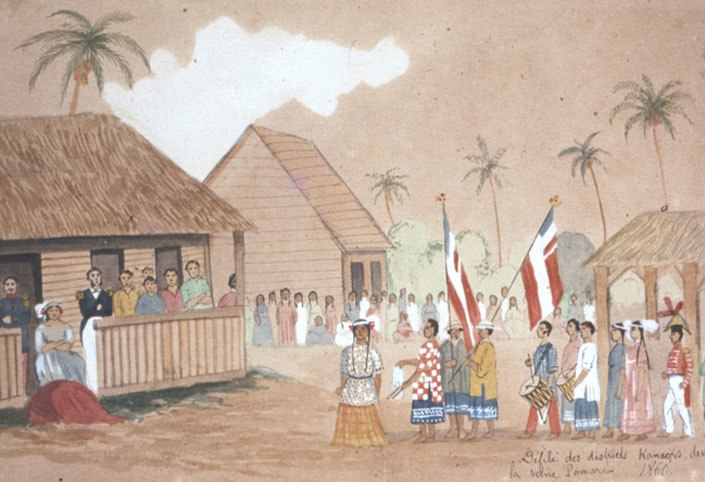 Parade of the Kanaks districts before Queen Pomare in 1860