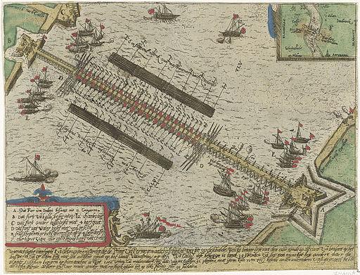 Parma's bridge over the Scheldt, built of ships - Schipbrug van Parma over de Schelde