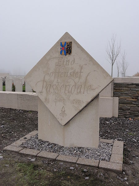 "Name stone 1914-1918 - ""Eindoffensief Passendale, 28 september 1918"" (Final offensive, Passendale) (no. 25, fifth series) in Passendale. Passendale, Zonnebeke, West Flanders, Belgium"