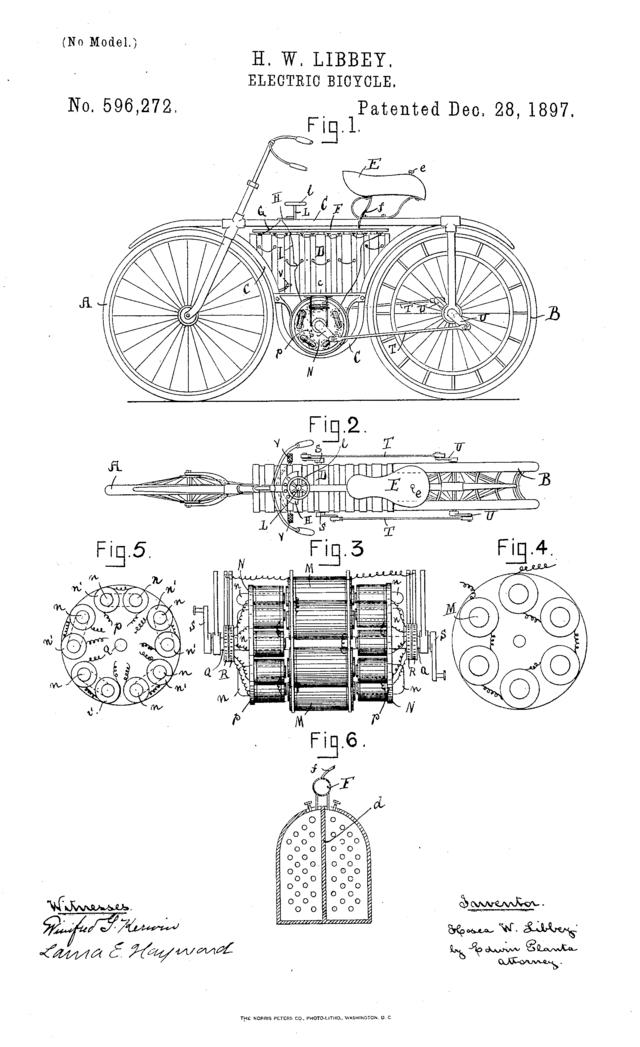 H.W. Libbey elektromos kerékpár rajz