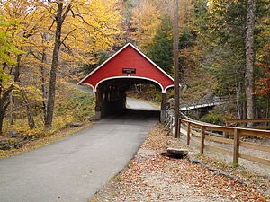 Franconia Notch State Park - Covered bridge near the Flume